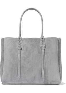 Lanvin Woman Small Shopper Fringed Suede Tote Gray