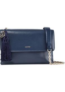 Lanvin Woman Small Sugar Tasseled Leather Shoulder Bag Storm Blue