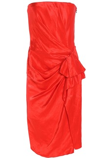 Lanvin Woman Strapless Gathered Linen-blend Taffeta Dress Red