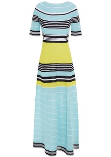 Lanvin Woman Striped Cotton-blend Midi Dress Sky Blue