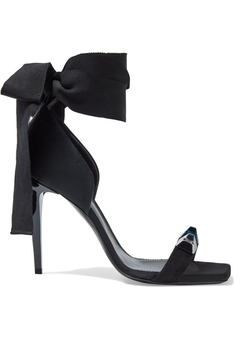 Lanvin Woman Studded Suede-trimmed Faille Sandals Black