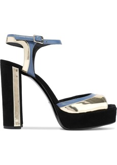 Lanvin Woman Suede Matte And Mirrored-leather Platform Sandals Black