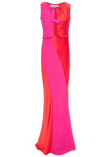Lanvin Woman Tie-detailed Cutout Satin And Crepe Gown Red