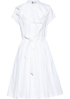 Lanvin Woman Tie-front Ruffled Cotton-poplin Shirt Dress White