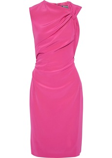 Lanvin Woman Gathered Cutout Crepe De Chine Dress Fuchsia