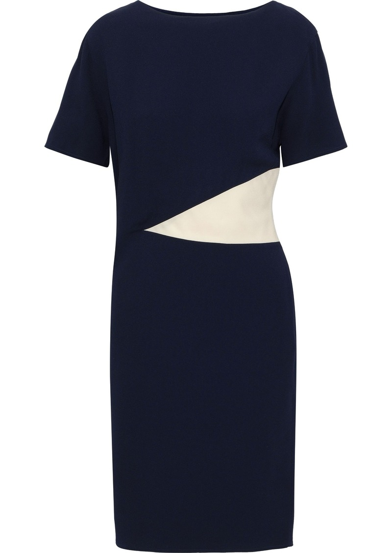 Lanvin Woman Two-tone Crepe Dress Navy