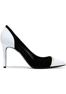 Lanvin Woman Two-tone Glossed-leather And Suede Pumps Black