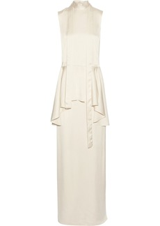 Lanvin Woman Washed-twill Peplum Maxi Dress Ecru
