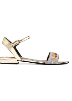 Lanvin Woman Whipstitched Suede-paneled Mirrored-leather Sandals Gold