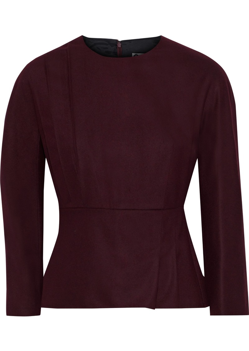 Lanvin Woman Wool-blend Peplum Top Merlot