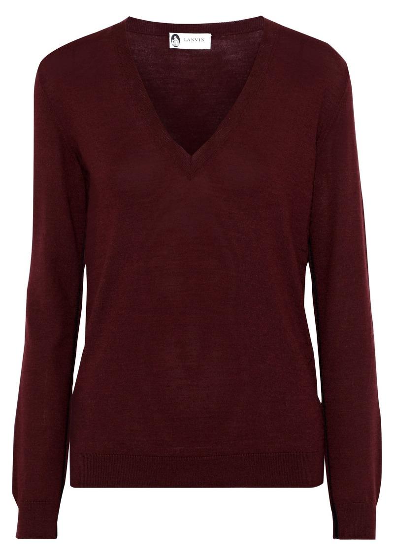 Lanvin Woman Wool-blend Sweater Burgundy