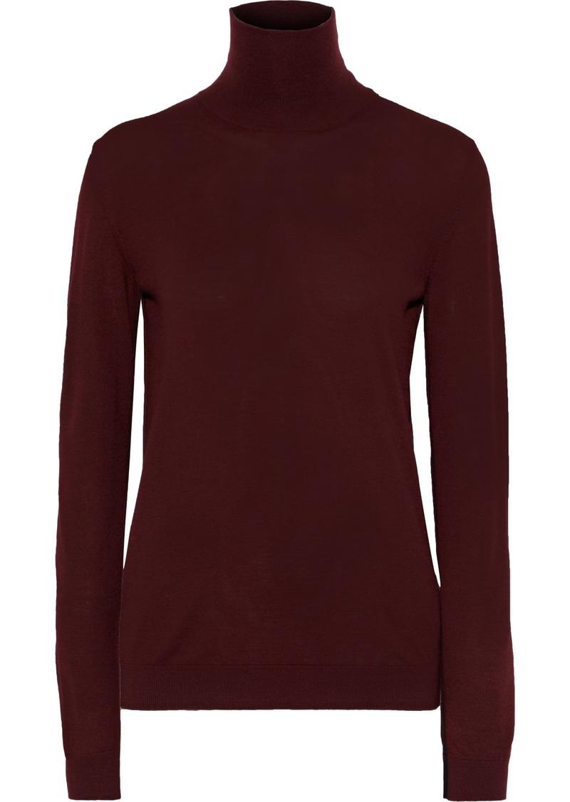 Lanvin Woman Wool-blend Turtleneck Sweater Burgundy