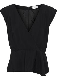 Lanvin Woman Wrap-effect Crepe Top Black