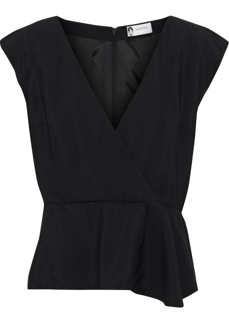 Lanvin Woman Wrap-effect Crepe Top Black