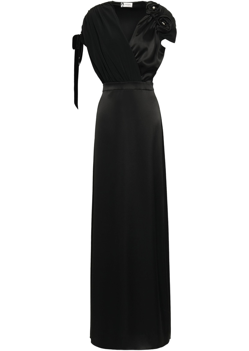 Lanvin Woman Wrap-effect Floral-appliquéd Satin-crepe Gown Black