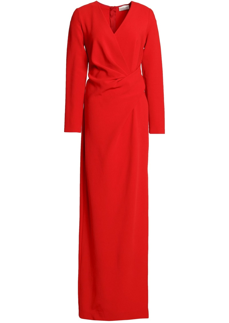 Lanvin Woman Wrap-effect Gathered Stretch-jersey Gown Red