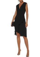 Lanvin Woman Wrap-effect Pleated Wool-crepe Dress Black