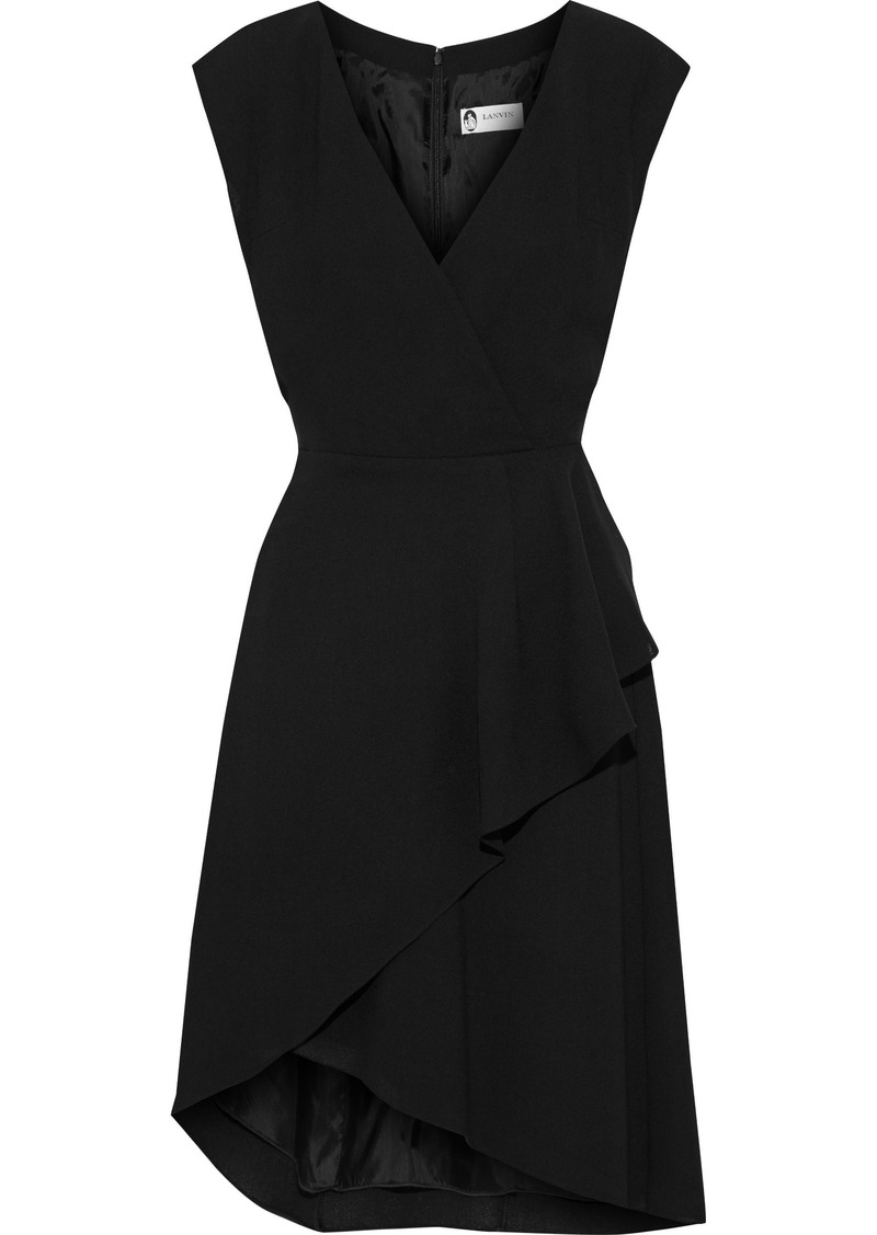 Lanvin Woman Wrap-effect Pleated Wool-crepe Dress Black