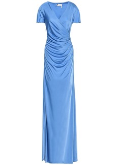 Lanvin Woman Wrap-effect Ruched Satin-jersey Gown Azure