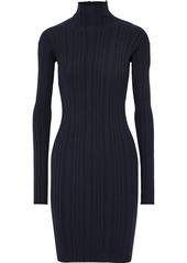 Lanvin Woman Zip-detailed Ribbed Wool-blend Turtleneck Mini Dress Midnight Blue