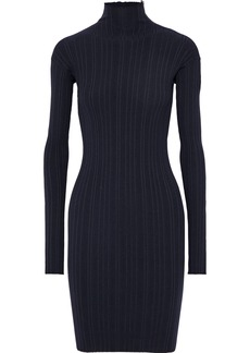 Lanvin Woman Zip-detailed Ribbed Wool-blend Turtleneck Mini Dress Midnight Blue