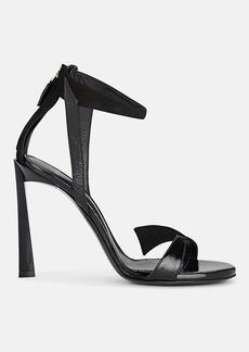 Lanvin Women's Beveled-Heel Patent Leather & Suede Sandals