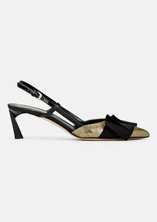 Lanvin Women's Bow-Embellished Leather Slingback Pumps