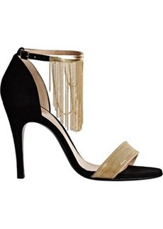Lanvin Women's Chain-Embellished Ankle-Strap Sandals-BLACK Size 10.5
