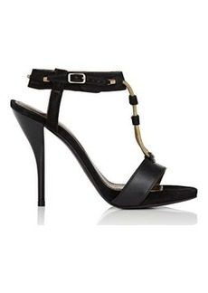 Lanvin Women's Chain-Embellished Ankle-Strap Sandals-BLACK Size 6