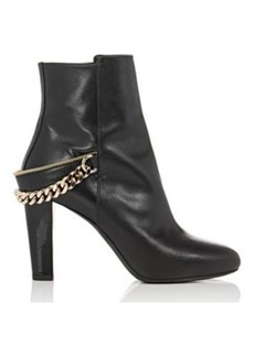 Lanvin Women's Chain-Embellished Leather Ankle Booties