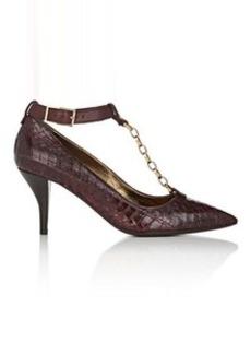 Lanvin Women's Chain-Link-T-Strap Snakeskin Pumps
