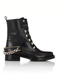 Lanvin Women's Chain-Strap Leather Combat Boots