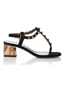 Lanvin Women's Embellished Suede T-Strap Sandals
