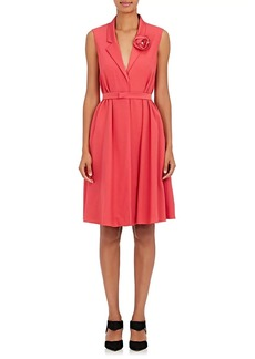 Lanvin Women's Florette-Embellished Crepe Wrap Dress