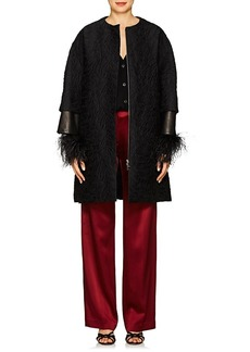 Lanvin Women's Leather-Inset Abstract Wool-Blend Brocade Coat