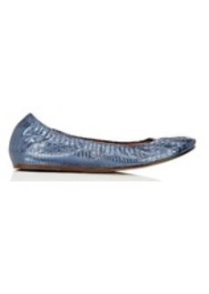 Lanvin Women's Metallic Stamped-Leather Flats