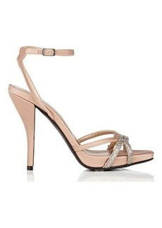 Lanvin Women's Python-Trim Satin Platform Sandals-Light pink, Silver Size 11
