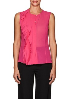 Lanvin Women's Ruffled Stretch-Silk Blouse