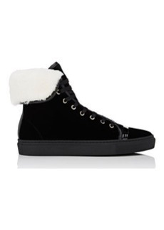 Lanvin Women's Shearling-Lined Velvet Sneakers