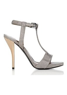 Lanvin Women's Stamped Leather T-Strap Sandals-Silver Size 5