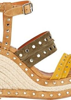Lanvin Women's Studded Platform Wedge Sandals-Yellow Size 10