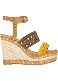 Lanvin Women's Studded Platform Wedge Sandals-YELLOW Size 5