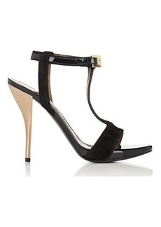 Lanvin Women's Suede & Patent Leather T-Strap Sandals