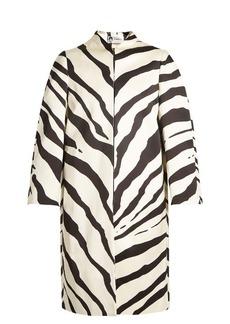 Lanvin Zebra-print collarless cotton-blend coat