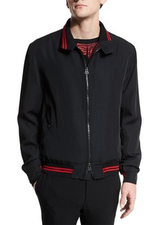 Lanvin Zip-Up Bomber Jacket with Striped Trim
