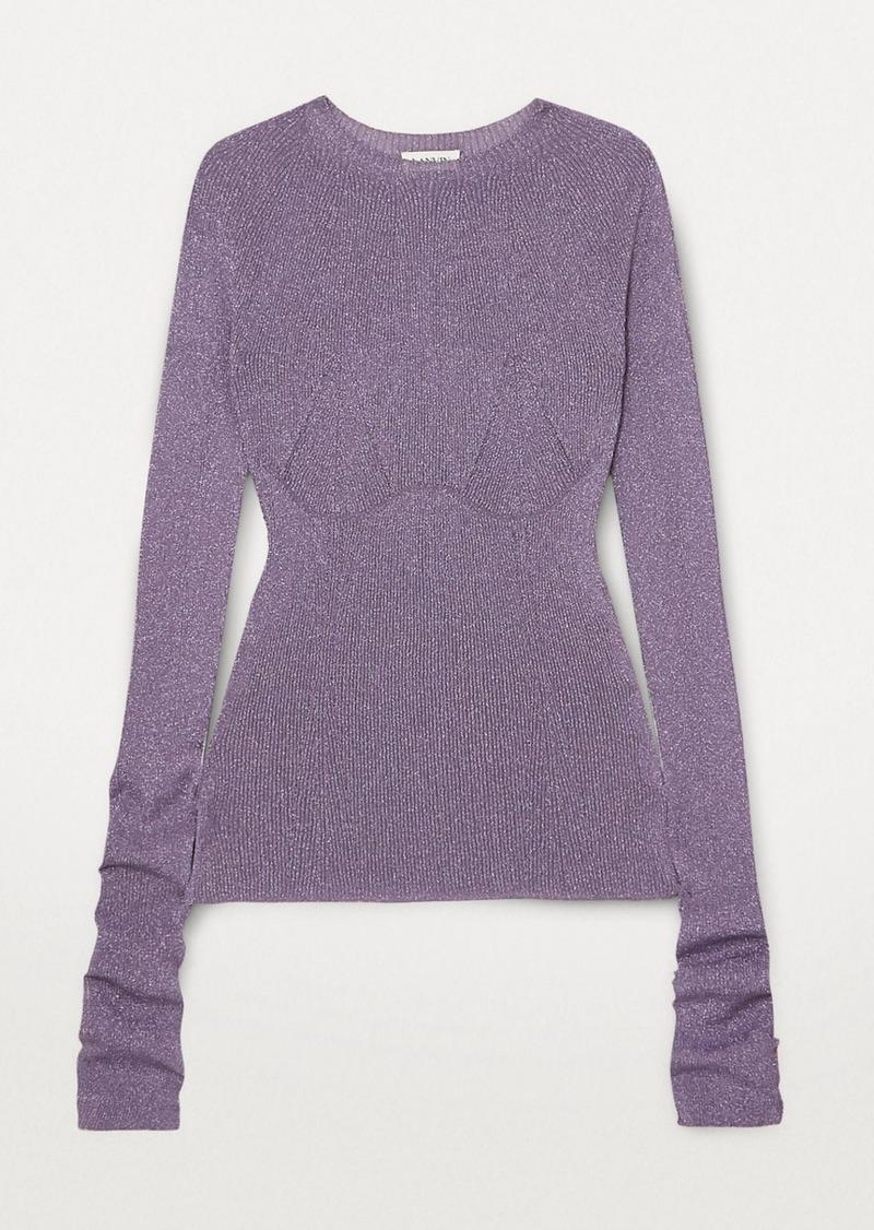 Lanvin Metallic Ribbed-knit Sweater
