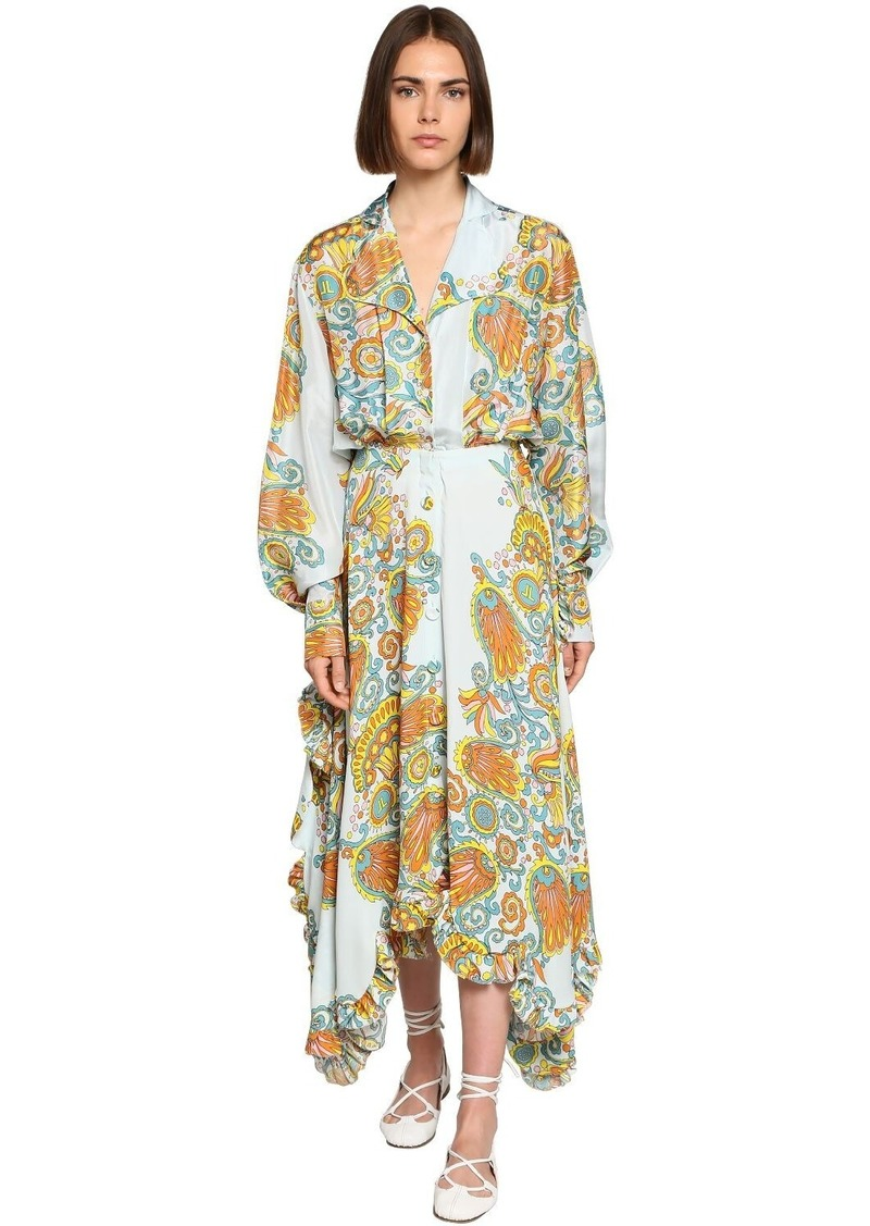 Lanvin Mulberry Flower Print Crepe Shirt Dress