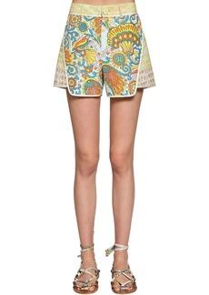 Lanvin Multi Print Silk Shorts