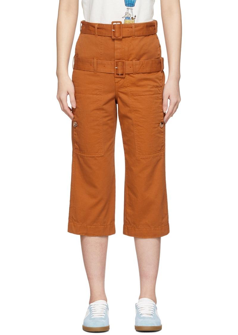 Lanvin Orange Double-Belt Cropped Trousers