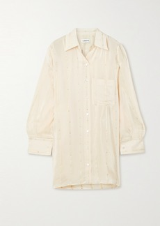 Lanvin Oversized Asymmetric Fil Coupé Crepe De Chine Shirt